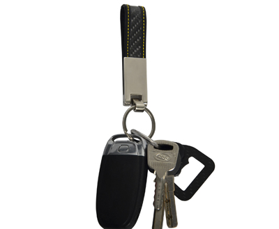 Carbon Fiber Genuiem Leather Key Chain